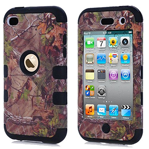 ipod 4 Camo Case, Kecko Dual Layer Defender Tough Armor Realtree Camouflage Hunting Tree Shockproof High Impact Hybrid Silicon Hard Case Cover for Girls & Boys For ipod Touch 4th (Black)