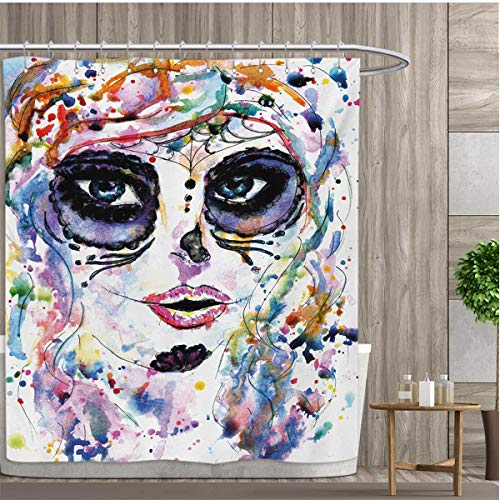 smallfly Sugar Skull Shower Curtain Customized Halloween Girl with Sugar Skull Makeup Watercolor Painting Style Creepy Look Bathroom Set with Hooks 84