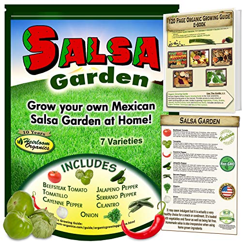 Mexican Salsa Garden Seeds Collection-Flavors of Mexico in Your Back Yard - Windowsill, Tomato, Tomatillo, Jalapeno, Serrano, Cayenne Pepper, Cilantro, Onion Free Online Grow Guide (Indoor Salsa Garden)