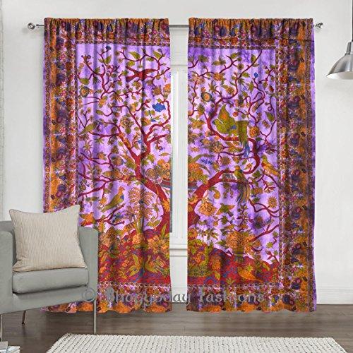 Indian Curtain Drapes Panel Sheer Tree Of Life Mandala Bohemian 2 PC Curtain Set Window Treatment Door Hanging Decor 84 x 80 By Shree Jinvaram