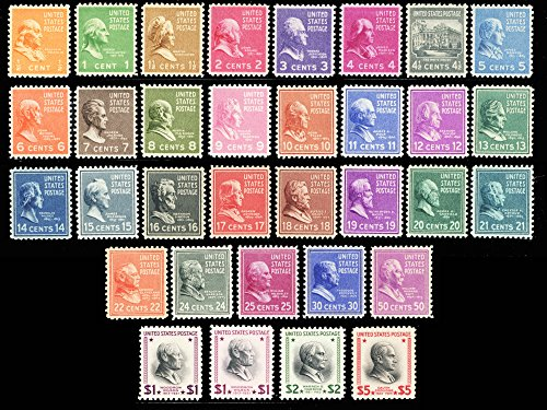 (Presidential Issue of 1938 Complete Set of 33 Mint NH Stamps Scott 803-834 +832c By USPS)
