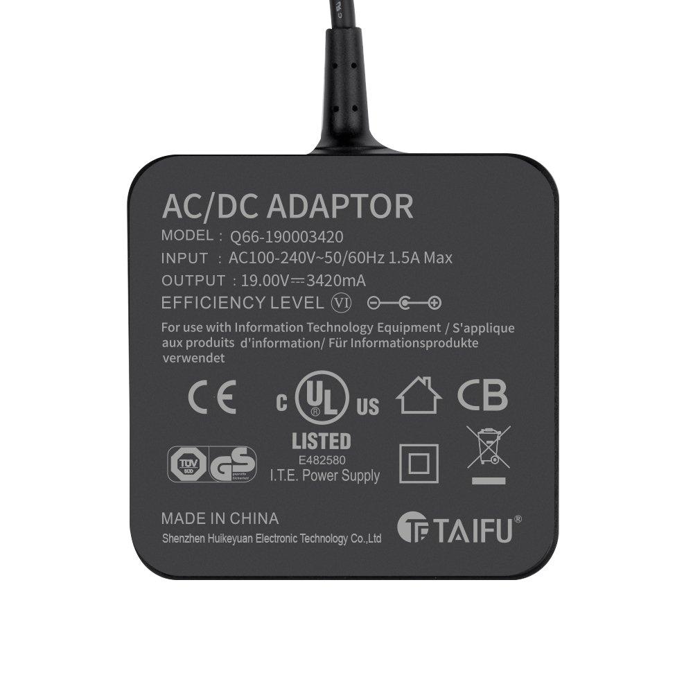 TAIFU 19V 3,42A 65W Cargador Portatil PC para ASUS F554LA F555L F551C F551M X54C X552C X551M X554L X551C X551CA K53E A52F A53E Fuente de alimentación ASUS ...