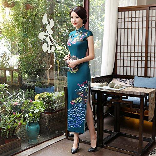 Cheongsam Qipao Moulant De Femme Robe Foncé Acvip Floral Pour Soirée Vert Long Asiatique Party yqwIYRSX