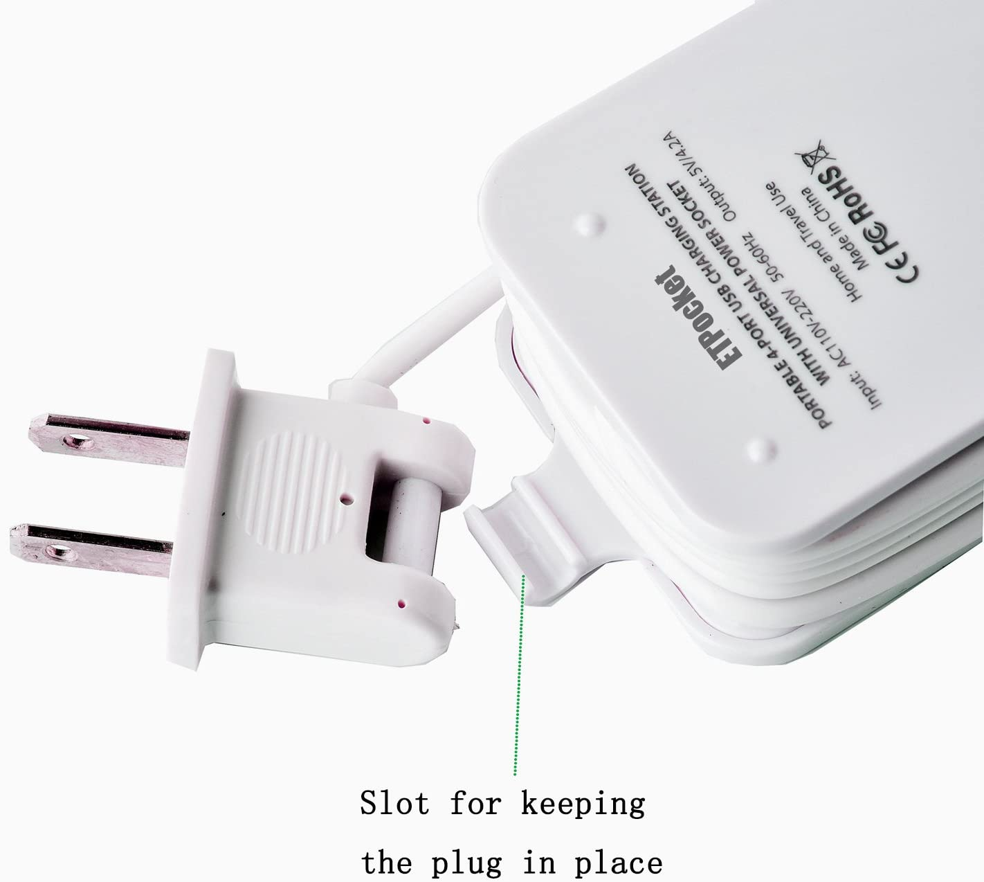 USB Power Strip Portable Travel Charger Outlets 2.1AMP 1AMP 21W 5Foot Power Supply Cord With Universal Plug Input From 100v 240v Power Sockets USB