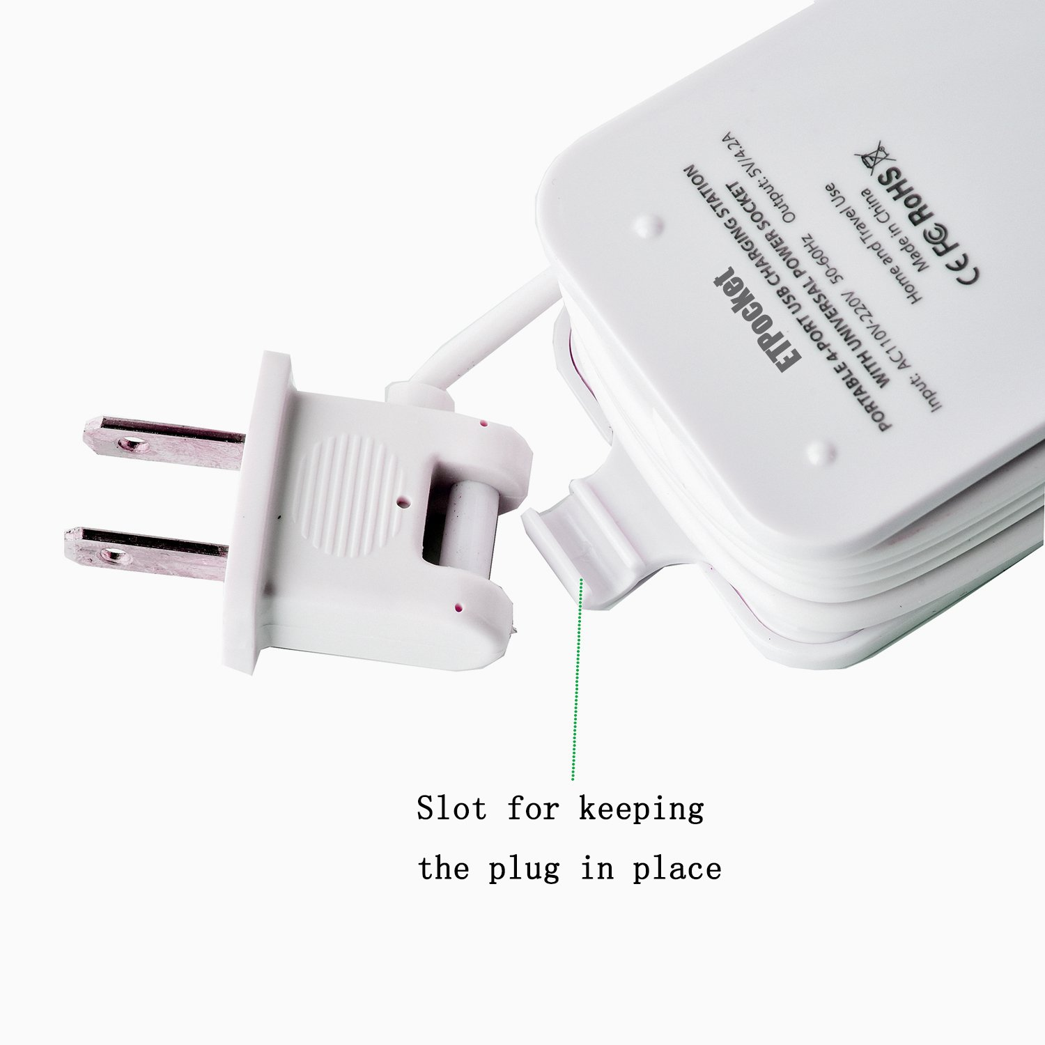 USB Power Strip Portable Travel Charger Outlets 2.1AMP 1AMP 21W 5Foot Power Supply Cord With Universal Plug Input From 100v-240v Power Sockets USB Charger Station 4 Port 5v 1A/2.1A USB Charger (White) by ETPocket (Image #5)