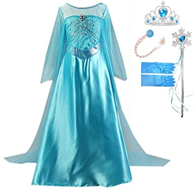 GenialES Disfraz Vestido Guantes Peluca Varitas Mágicas Tiara Diadema de Princesa Largo Lindo Regalo Cumpleaños Disfraz