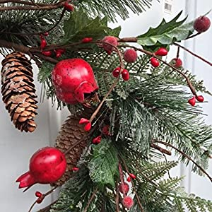 Adirondack Crabapple Winter Wreath 22 Inches Handcrafted With Bright Red Apples Artificial Greens And Pine Cones Hang On The Front Door For The Winter Holiday Season 3