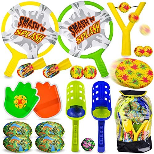 JOYIN 7 in 1 Outdoor Sports Toy Backpack Set, Including Scoop Balls, Football Toss, Ball Toss Bag, Slingshot, Flying Disc, Water Pickleball, Hand Paddle Game Toss and Catch, Outdoor Play Game for Kids