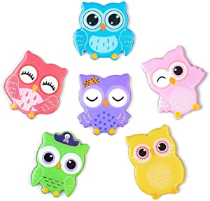 Owl Magnets for Refrigerator 6 Pack Decorative Fridge Magnets Set Cute Funny Decoration Locker Kitchen Office Whiteboards etc Suitable for Kids Toddlers and Adults (Cartoon Owl)