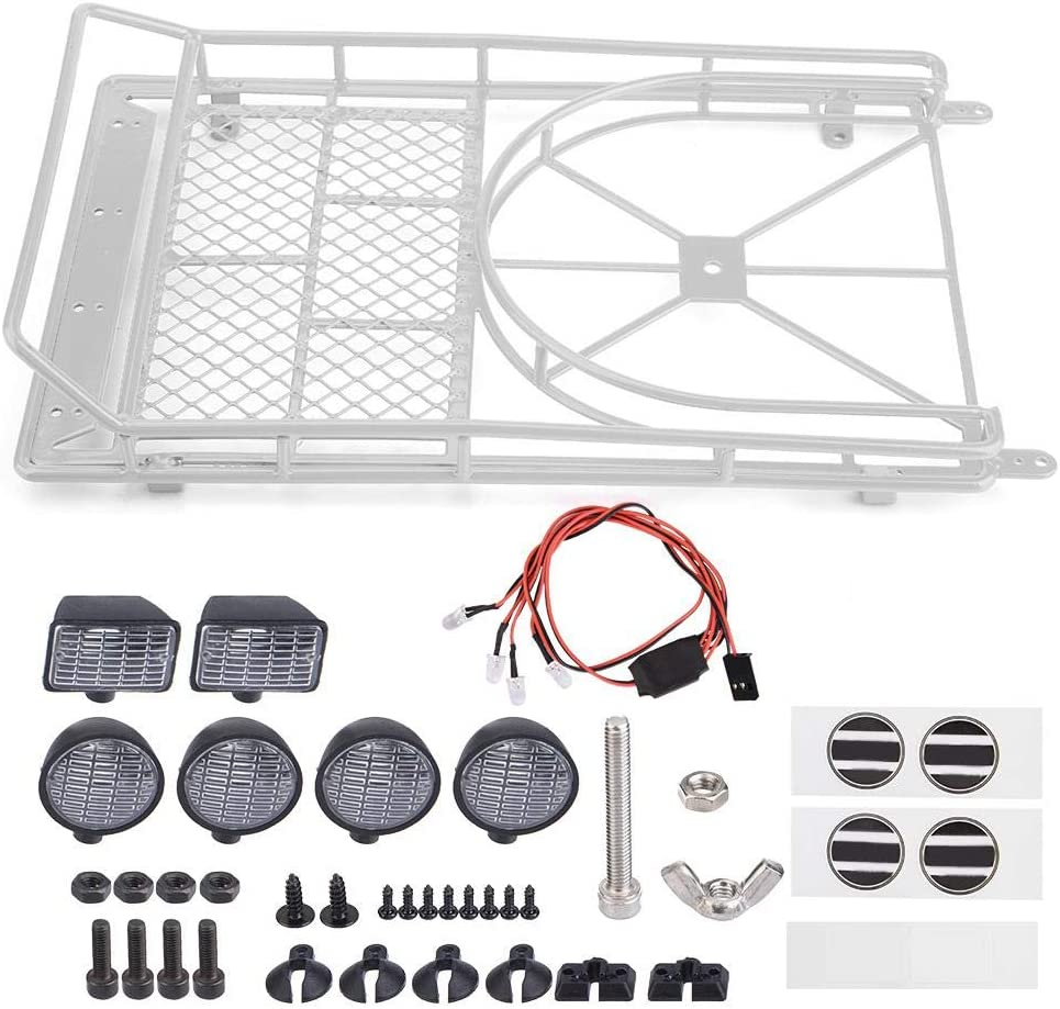 Silver with 4 LED Lights Roof Rack Luggage Carrier for Axial SCX10 1//10 Scale RC Crawler Car