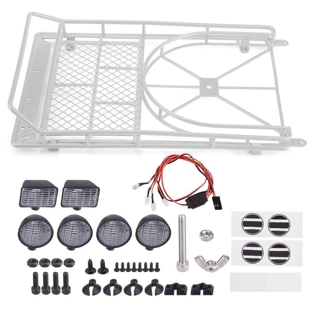LED Light For 1//10 RC SCX10 II Cherokee Metal Roof Luggage Rack W// Tire Holder