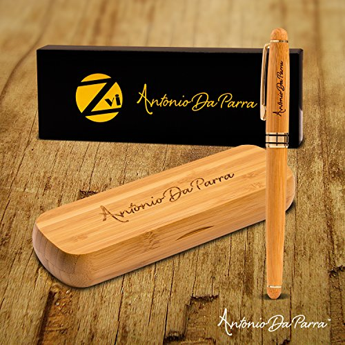 Fountain-Pen-Calligraphy-Writing-Set-Premium-Quality-Handcrafted-Bamboo-Vintage-Collection-with-Ink-Refill-Converter-Gold-Medium-Nib-by-Antonio-Da-Parra