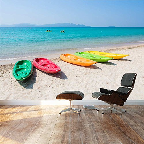 Large Wall Mural Beautiful Scenery of Colorful Kayak Boats on Tropical Beach Vinyl Wallpaper Removable Decorating