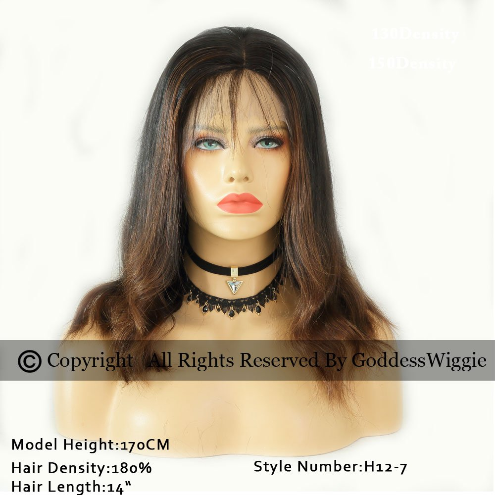 Ombre Wigs Human Hair Lace Front Wigs With Baby Hair Human Hair Wigs For Woman (14inch 180%)