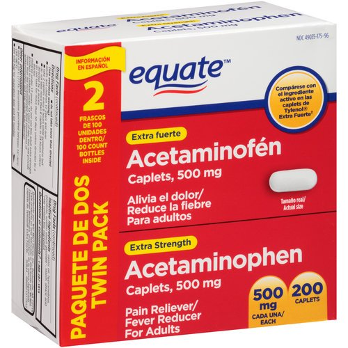 Equate - Acetaminophen 500 mg, 200 Caplets (Compare to Tylenol)