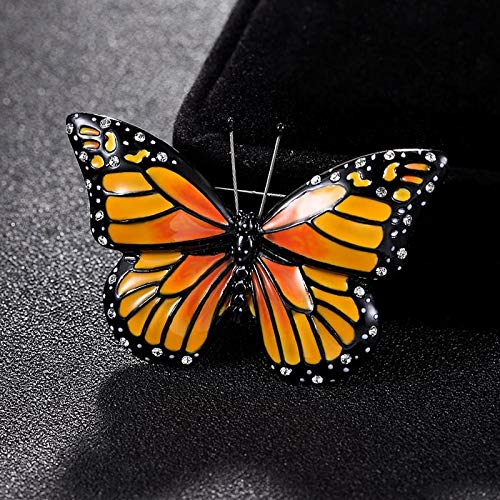 Pukido Orange Enamel Butterfly Brooch pins for Women Party Gifts Hijab Accessory Men's Vintage Brooch Bouquet