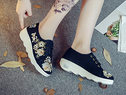 AvaCostume Canvas Embroidery Slip Sole Travel Walking Sneaker Black b7LIAe