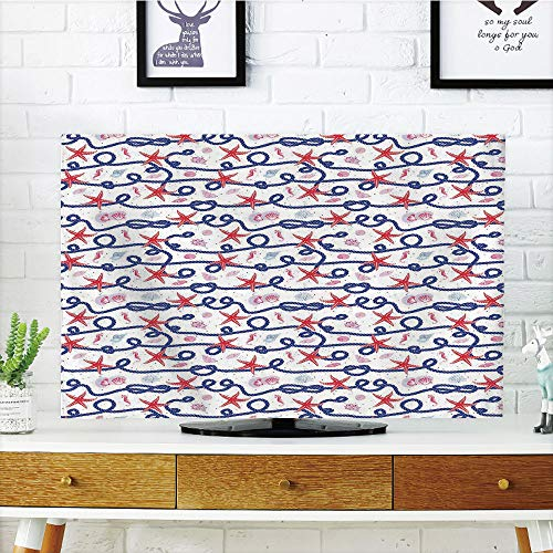 LCD TV Cover Lovely,Starfish Decor,Nautical Pattern Navy Marine Rope Red Starfish Shells Scallops Seahorses Decorative,Multicolor,Diversified Design Compatible 50