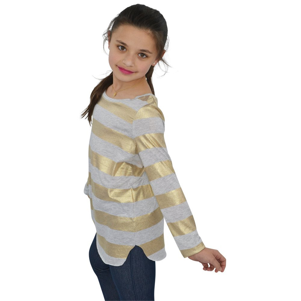 Splendid Girls Foil Striped Tunic in Gold