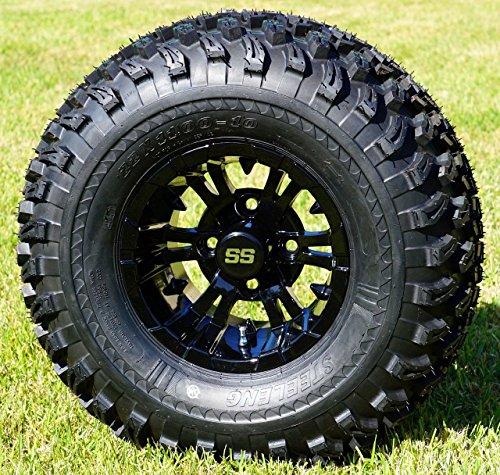 10″ Vampire Gloss Black Aluminum Wheels and 22X11-10 All Terrain Tires Combo – Set of 4