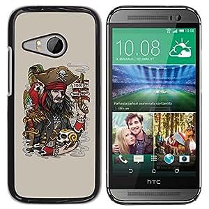 Be Good Phone Accessory // Dura Cáscara cubierta Protectora Caso Carcasa Funda de Protección para HTC ONE MINI 2 / M8 MINI // Funny Pirate & Skull