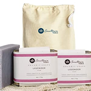 Premium Handmade Soap Collection - All Natural Soaps - Organic Ingredients & Essential Oils Made in the USA (Lavender, 2 Pack & Sack)