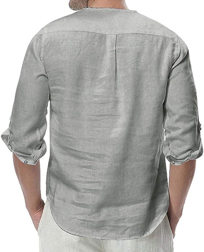 Colmkley Mens Button Cotton Linen Shirts Long Sleeve Loose Summer Casual Tops