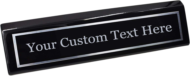 Hat Shark Custom Desk Name Plate | Metal Plate on Wood Wedge | Custom Name Wedge - Gift for Him, for Her, for Boys, for Girls, for Husband, for Wife, for Them, for Men, for Women, (Black and Steel)