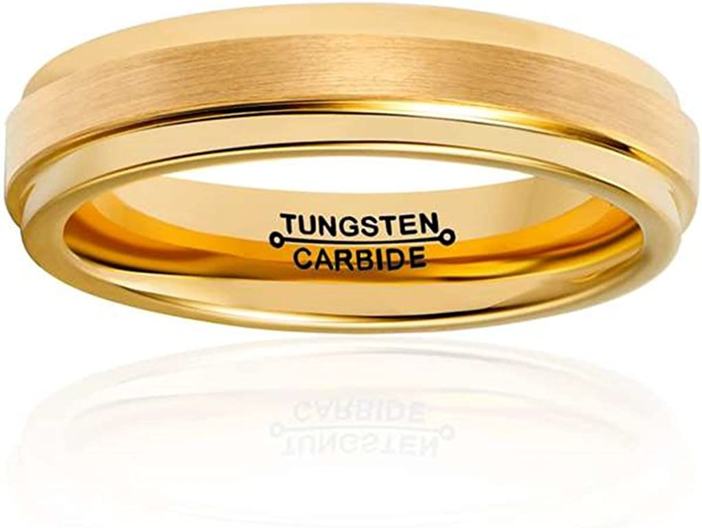 Bishilin Tungsten Brushed Finish Domed Comfort Fit Gold 4MM Ring Wedding Band for Women Men Size 11