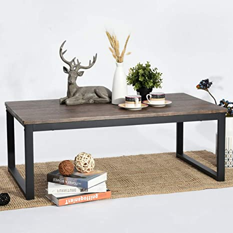 Amazon Com Aingoo Rustic Industrial Coffee Table With Metal Frame Accent Furniture Simple Rectangle Sofa Tea Table For Home Office Living Room Easy Assembly Dark Brown Ct 01 Home Kitchen