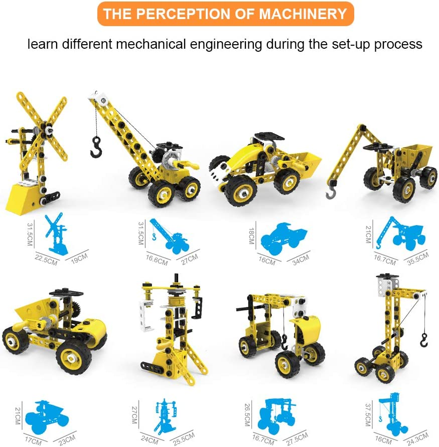 STEM Toys for 5-8-10-12 Year Old Kids,8 in 1 Engineering Building Set 100 Pcs Educational Construction Kits Birthday