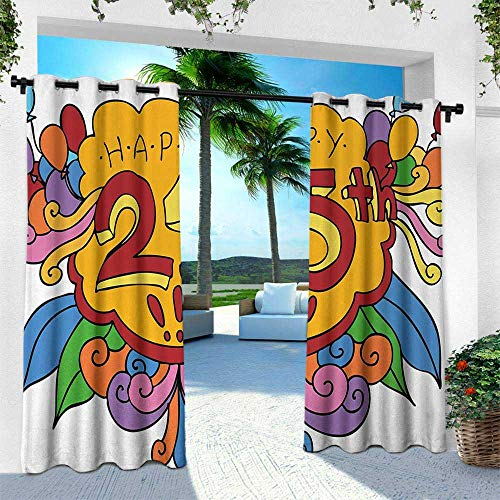 (Hengshu 25th Birthday, Balcony Curtains,Cartoon Styled Composition with Floral Details Swirls and Balloons Print, W84 x L84 Inch, Multicolor)