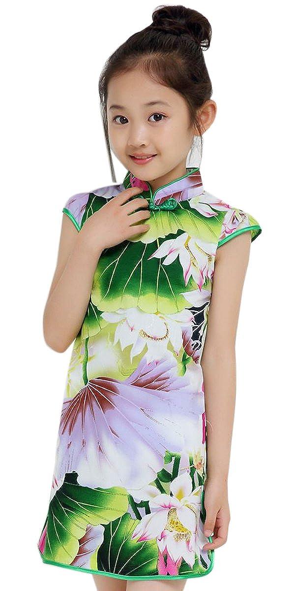 Suimiki Girls Kids China Style Chinese Qipao Floral Cheongsam Summer Mini Dress