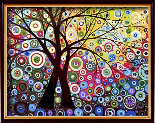DIY PBN-paint by numbers Abstract tree-3 16-by-20 inches Fra