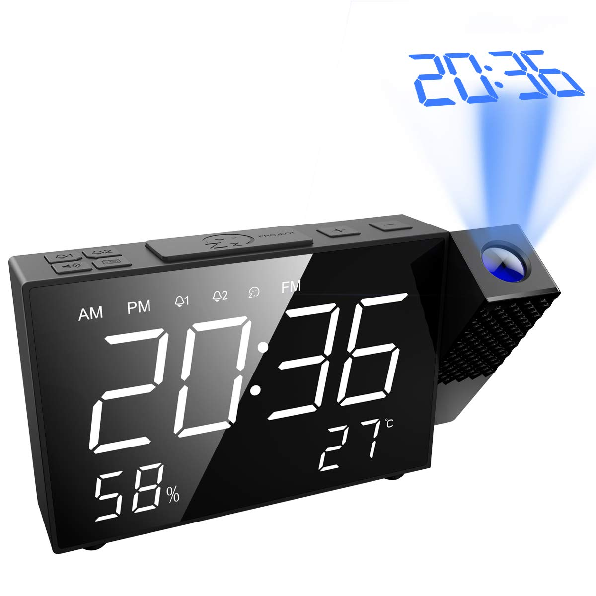 AMIR Projection Alarm Clock, 6.5'' Projection Clock, FM Radio with Temperature and Humidity, 12/24 Hours, Dual Alarm with USB Charging Portor for Home, Bedroom, Kitchen