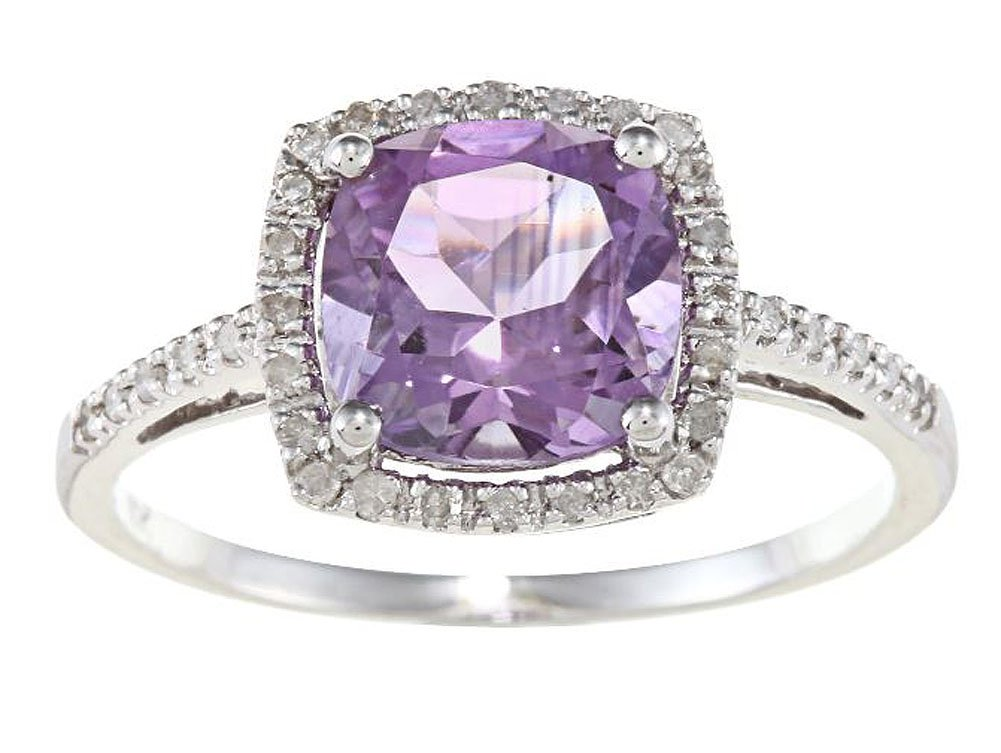 10k Rhodium-Plated White Gold Cushion Amethyst and Diamond Halo Ring