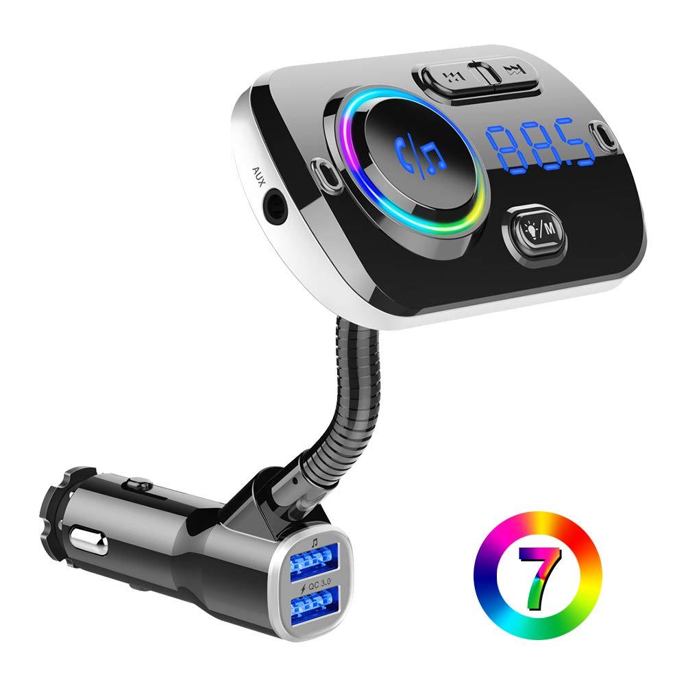 BTMAGIC Bluetooth FM Transmitter BC49AQ for Car, 7 Color LED Car Adapter with QC3.0 Charging, Siri Google Assistant, USB Flash Drive, MicroSD Card, Handsfree Car Kit by BTMAGIC