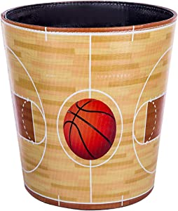 Haoun Wastebasket, Sport Theme Decorative Trash Can PU Leather Waste Paper Basket Kitchen Garbage Can Office Waste Bin Living Room Recycle Bin Bedroom Dustbin Waste Container - Basketball Court