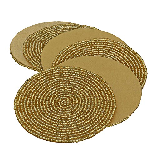 Handmade Indian Gold Beaded Tea Coasters - 4-Inch Placemats for Teacups - Set of 6 Cup Coasters (Swirl Teacup)