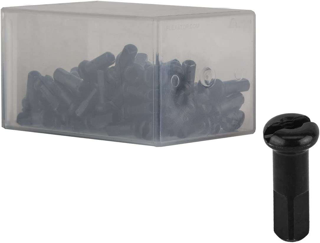 Black 100-Count Box of DT Swiss 2.0 x 12mm Brass Bicycle Wheel Spoke Nipples