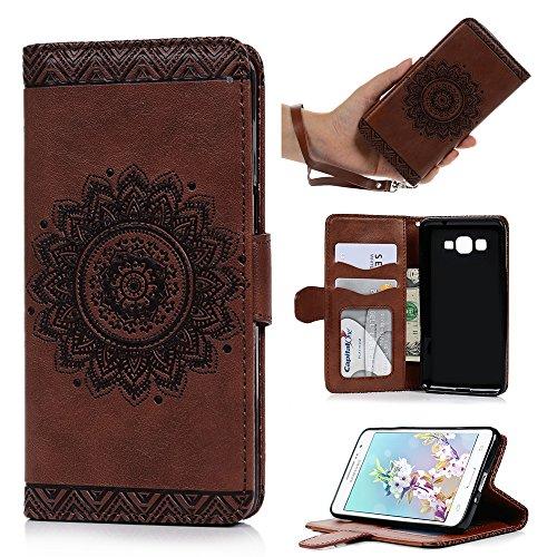 Cheap Cases Galaxy Grand Prime Case,Samsung Galaxy Grand Prime Case G5308/G530H Wallet Embossed Totem..