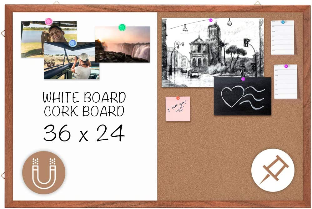 Wood Frame Combo Board Dry Erase Cork Board Combination Magnetic Whiteboard & Bulletin Board, 36 x 24 inches Combo Dry Erase Board Hanging Message Board Wall Mounted for Decor, Home, Office, Classroom