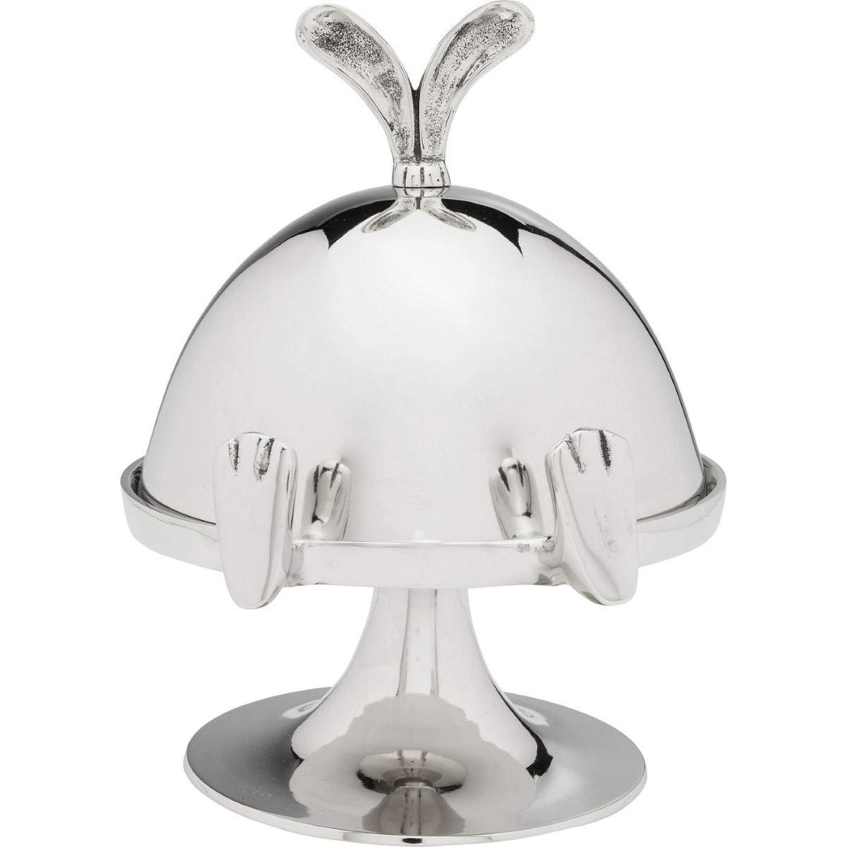 Kare 23 x 23 x 20 cm Cake Bell Bunny, Nickel-plated aluminum, Silver