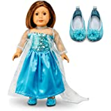 "Oct17 Fits Compatible with American Girl 18"" Princess Dress 18 Inch Doll Clothes Accessories Costume Outfit Set with Shoes"