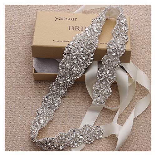 (Yanstar Handmade Crystal Beads Rhinestone Bridal Wedding Belt Sash With Cream Ivory Ribbon For Bridal Wedding PartyGowns Dress)