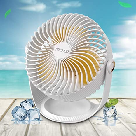 ONXE 8 Inch Desk Fan 3 Speeds USB Table Fan Rechargeable Battery Power Operated Air Circulator for Personal Cooling Bedroom Camping