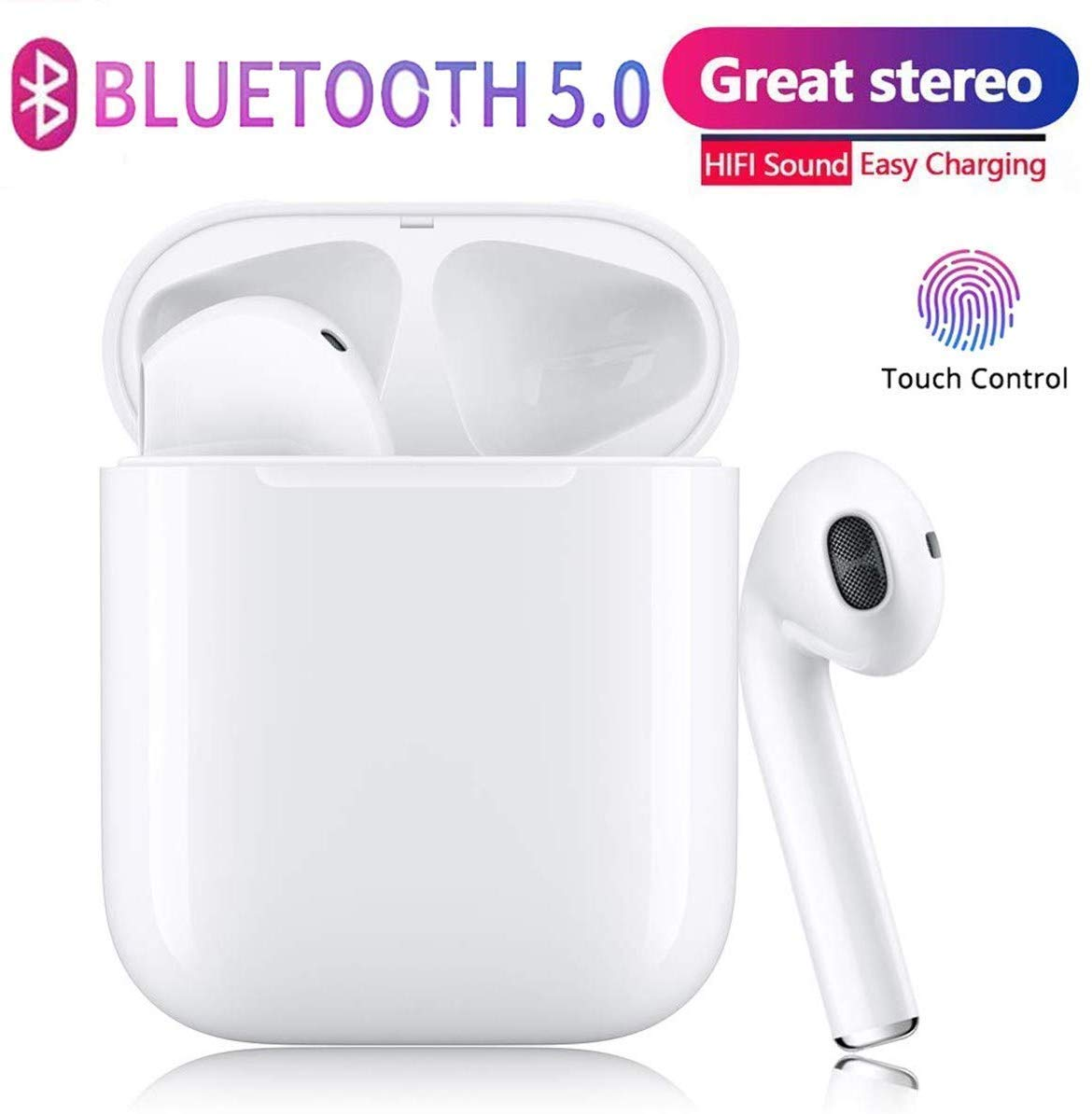 Wireless earbuds Bluetooth 5.0 Headphones 2019 Latest intelligent noise reduction support fast charging pop-up automatic pairing White Bluetooth