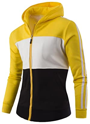 Oberora Mens Slim Fit Cotton Color-Blocked Jacket Casual Hoodies Yellow 2XL