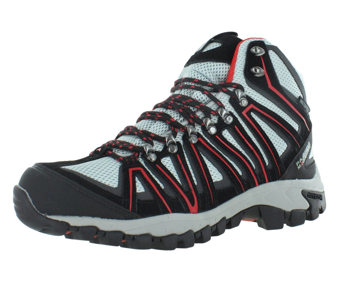 Pacific Mountain Crest Men's Waterproof Hiking Backpacking Mid-Cut Black/Grey/Red Boots Size 10.5