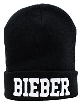 Justin Bieber Beanie (negro con logotipo blanco): Amazon.es ...